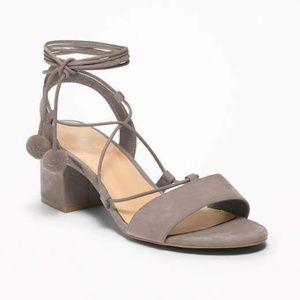 Old Navy low block heel suede lace-up sandals NWT